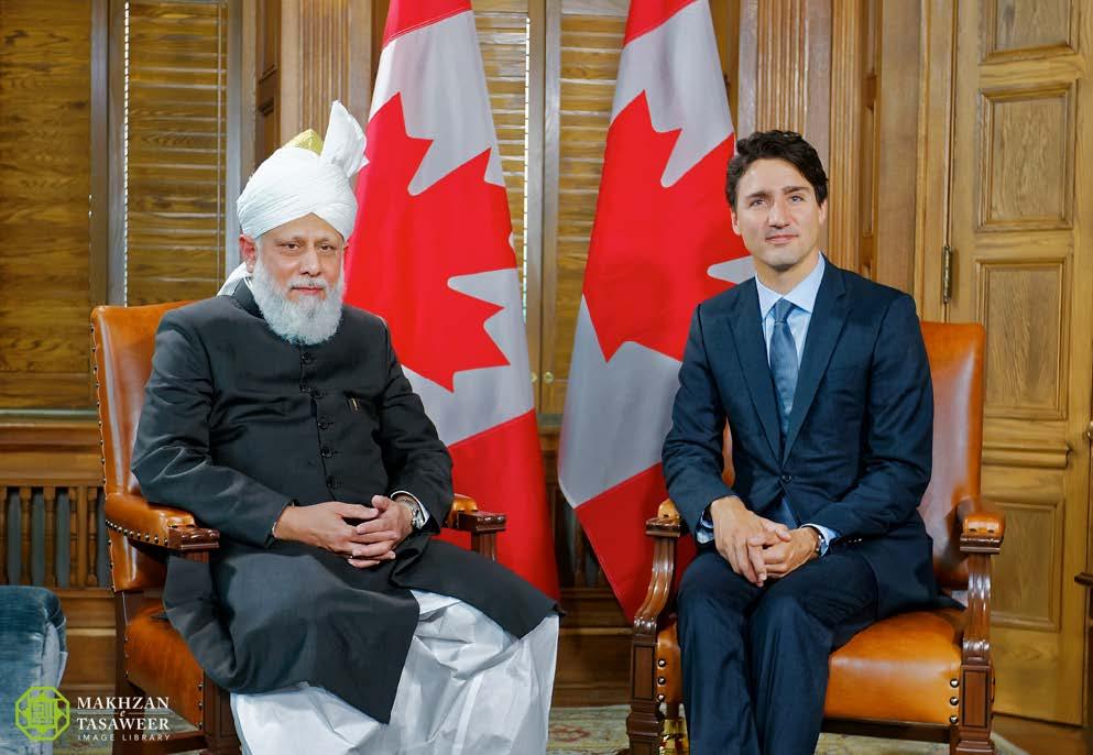 Müslüman Ahmediye Cemaati Başkanı Hz. Mirza Masrur Ahmed, Kanada Başbakanı ile görüştü